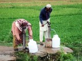In Sargodha, people collect drinking water from hand pumps meant for watering a field. PHOTO: ISRARUL HAQ/EXPRESS