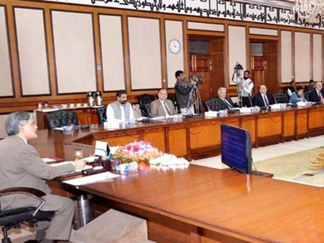 Finance Minister Ishaq Dar chairs the meeting of ECC on Thursday. PHOTO: PID