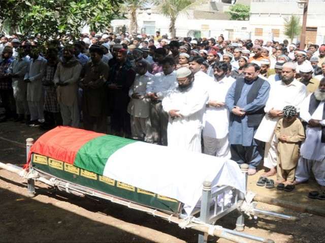 Funeral prayers of MQM's slain member Malik Anwar Ali being offered on Friday. PHOTO: COURTESY MQM