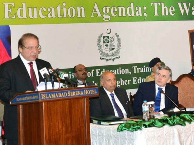 Prime Minister Nawaz Sharif addressing the international conference on education in Islamabad on Saturday with UN special envoy for education Gordon Brown in attendance. PHOTO: PID
