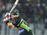 Ahmed Shehzad plays a ball against Bangladesh during their one-day international (ODI) cricket match in Asia Cup 2014 in Dhaka March 4, 2014. PHOTO: REUTERS