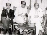 Jam Sadiq Ali, Zulfikar Ali Bhutto, and Mir Rasul Bux Talpur in Karachi, 1971. PHOTO: FILE