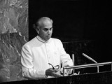 Bhutto in a classic white sherwani addresses the UN Headquarters in 1973. PHOTO: FILE