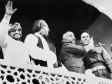 Yasir Arafat, Sheikh Mujibur Rahman, Bhutto and Muammad Gaddafi (L-R) after the second Organisation of Islamic Cooperation summit conference held in Lahore in 1974. PHOTO: AFP