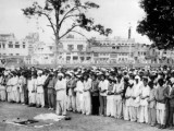 Mourners gather in Rawalpindi on April 4, 1979, for the funeral of Bhutto, who was executed earlier that day.PHOTO: AFP