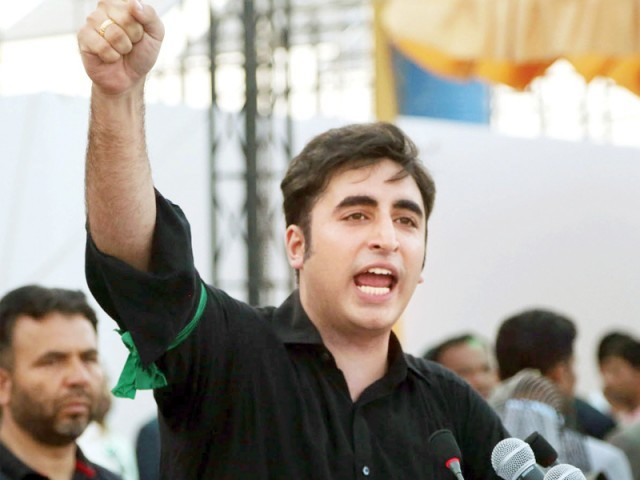 Bilawal addresses supporters in Garhi Khuda Bakhsh. PHOTO: INP