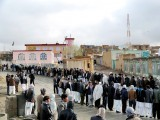 Afghan voters queue outside a local polling station in Ghazni. PHOTO: AFP