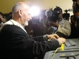 Afghan presidential candidate Ashraf Ghani Ahmadzai cast his vote at a local polling station in Kabul. PHOTO: AFP
