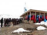 Afghan voters wait outside a polling station in Bamiyan. PHOTO: AFP