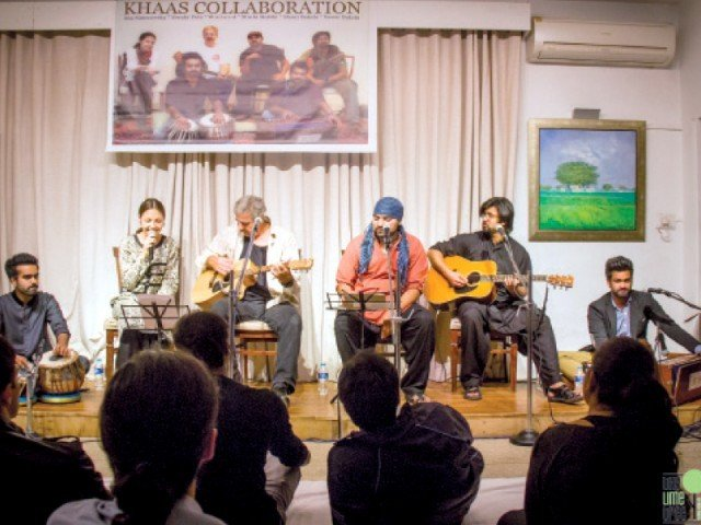 "The band combines traditional Pakistani instruments and language with songs from PlanB's recently-released album ""Too Late The Hero"" to create a fusion of sorts. PHOTO: EXPRESS"