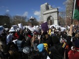 Massive crowds gather to take part in the pillow fight at Washington Square Park in New York. PHOTO: REUTERS