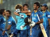 Sri Lanka batsman Kumar Sangakkara celebrates with teammates after Sri Lanka won the ICC World T20 tournament on April 6, 2014. PHOTO: AFP