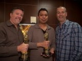 Pakistani visual effects artist, 38-year-old Mir Zafar Ali (C), fx supervisor Bill Westenhofer (L) and senior animation supervisor Erik De Boer (R). PHOTO: RHYTHM & HUES