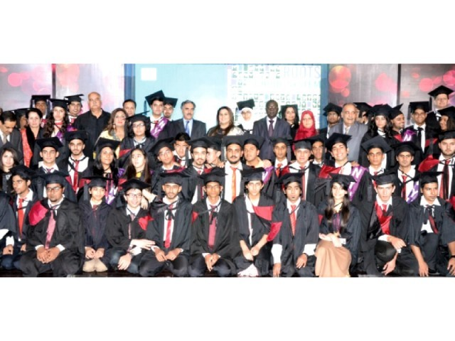 High-achievers Roots students  pictured after the convocation ceremony. PHOTO: EXPRESS