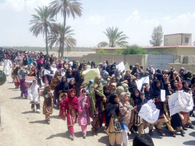 Students march in Turbat against threat to education. PHOTO: SHEZAD BALOCH/ EXPRESS