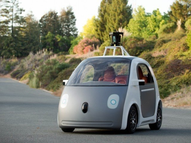 "This handout image provided May 28, 2014 by Google, shows a self-drivinga two-seat prototype vehicle conceived and designed by Google. Google unveiled plans to build its own self-driving car that it hopes to begin testing in the coming months. ""They won't have a steering wheel, accelerator pedal, or brake pedal... because they don't need them. Our software and sensors do all the work,"" Google's Chris Urmson said in a blog post. AFP PHOTO"