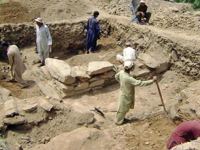 The excavation site at Koi Tangay Kandaray area in Mian Khan village. PHOTOS COURTESY: AWKUM