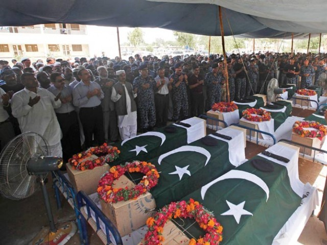 The funeral prayers of the soldiers of the Airport Security Force (ASF) were offered at the ASF Headquarters near Terminal One on Monday afternoon. PHOTO: EXPRESS