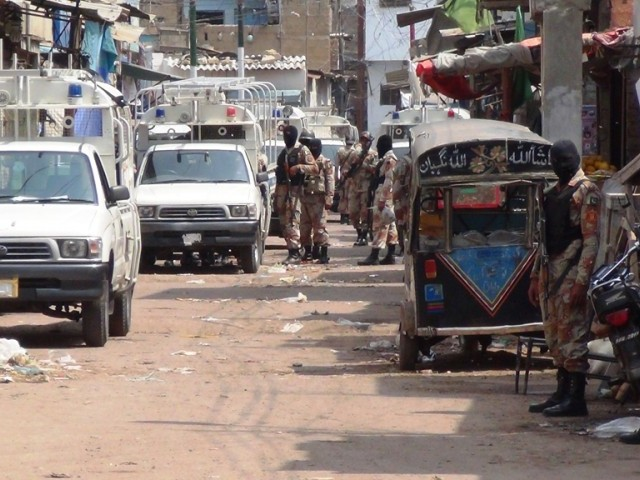 A file photo of Rangers personnel in Karachi. PHOTO: MOHAMMAD SAQIB/FILE