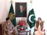 An Express News screengrab showing COAS General Raheel Sharif and Prime Minister Nawaz Sharif.
