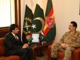 Army chief Raheel Sharif holds a meeting with Afghanistan's ambassador to Pakistan, Janan Mosazai, at General Headquarters. PHOTO:ISPR
