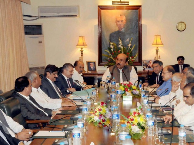 Sindh chief minister Qaim Ali Shah chairs a meeting of the Sindh Cabinet on Wednesday. PHOTO: NNI