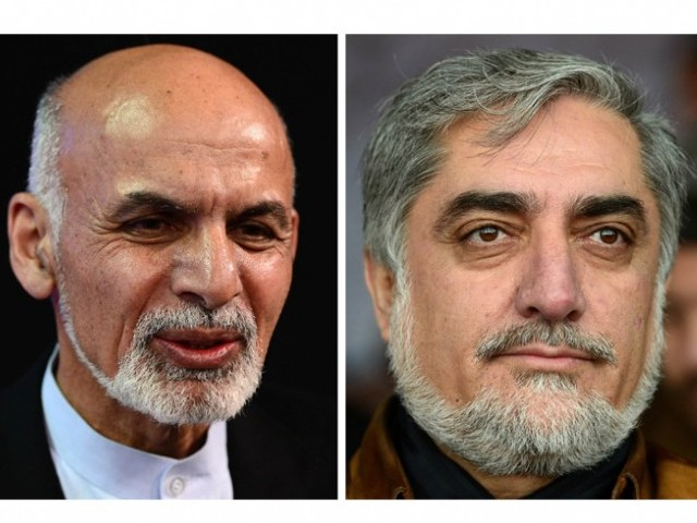 Dr Ashraf Ghani Ahmadzai (L) and rival Dr Abdullah Abdullah (R). PHOTO: AFP/FILE