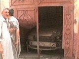 Express News screengrab of Bhagwan's car that was damaged in the explosion.