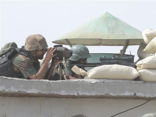 Army troops guarding a post in Miranshah on Wednesday. PHOTO: ISPR