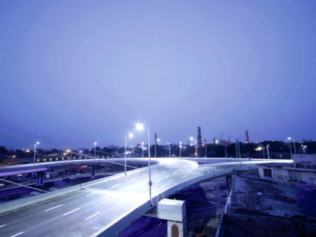 A photo of Azadi Chowk Flyover while under construction. PHOTO: SHAFIQ MALIK/EXPRESS