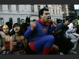 Students dressed as superheroes protest against the government in Santiago, Chile on July 18, 2011. PHOTO: REUTERS