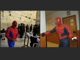 A man dressed as Spider-Man at a polling station in Hong Kong September 7, 2008 (R) and another wearing the costume for the Jewish holiday of Purim at the Western Wall, Judaism's holiest prayer site, in Jerusalem's Old City March 20, 2011. PHOTOS: REUTERS