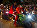 "Motorbike riders take part in ""Moto-Halloween Party 2013"" on October 30, 2013, in Cali, Valle del Cauca department, Colombia. PHOTO: AFP"