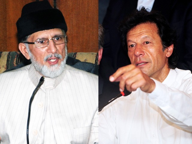 PTI chairperson Imran Khan (R) and PAT chief Tahirul Qadri. PHOTOS: EXPRESS/AFP