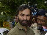 Jammu and Kashmir Liberation Front chief Yasin Malik arrives at the Pakistan embassy in New Delhi on August 19, 2014. PHOTO: AFP