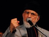 PAT chief Dr Tahirul Qadri addressing the PAT sit in on Wednesday. PHOTO: ONLINE