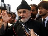 PAT chief Dr Tahirul Qadri addressing the crowd. PHOTO: INP