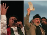 PTI chief Imran Khan (L) and PAT chief Tahirul Qadri. PHOTOS: AFP