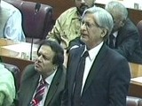 Express News screengrab of PPP leader Aitzaz Ahsan addressing the joint session of Parliament.