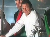 PTI chief has returned to protest venue after a break of almost five hours. PHOTO: EXPRESSNEWS SCREENGRAB