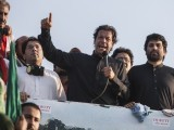 PTI chairman Imran Khan addressing his supporters. PHOTO: REUTERS