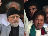 PAT chief Tahirul Qadri and PTI chief Imran Khan. PHOTOS: AFP