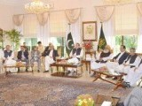 Prime Minister Nawaz Sharif with various political leaders during today's meeting. PHOTO: PID