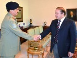 File photo of COAS General Raheel Sharif shaking hands with Prime Minister Nawaz Sharif. PHOTO: PID
