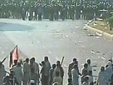 PAT protesters stand off against police officials on Constitution Avenue near the Parliament House. PHOTO: EXPRESS NEWS SCREEN GRAB