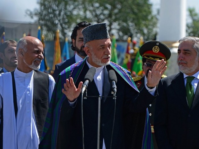 """Pakistan always wanted two things from Afghanistan to which we never agreed—the recognition of the Durand Line and a control over Afghanistan's foreign policy,"" Karzai said in his speech which was posted online. PHOTO: AFP"