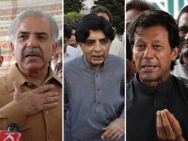 Image result for Pic of Imran khan, Ch. Nisar and Shahbaz together