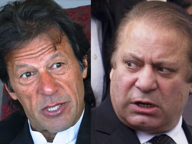 Imran Khan (L) and Nawaz Sharif (R). PHOTO: REUTERS/EXPRESS