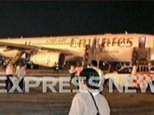 A screengrab of the Emirates aircraft that was evacuated after the pilot detected fire aboard the plane.