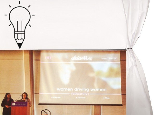 Team members from project 'Drive Her', presenting their idea. The concept is to provide a cab service for women with female drivers. PHOTOS COURTESY: AMNA KHAWAR